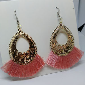 Pink Tassel and gold earrings